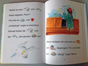 Wörter und Bilder wechseln sich in Konstantins Lieblingsbuch ab. Foto: Stephanie Esser