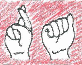 Punkte lesen, mit Händensprechen