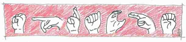 """So sieht die Abfolge der Fingerzeichen für das Wort """"Sprache"""" aus."""