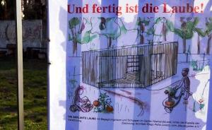 Spendenaufruf für den Laubenbau im Niemandsland-Garten. Foto: Michael Becker