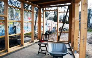 Der Rohbau der Laub im Niemandsland-Garten im Dezember 2018. Foto: Michael Becker