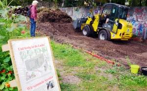 Baubeginn im Niemandsland-Garten im September 2018. Foto: Michael Becker