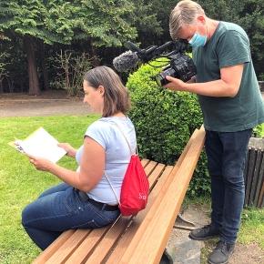 Videodreh im Rosengarten